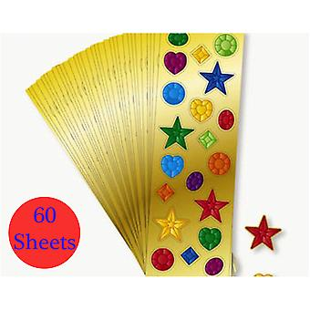 60 Mini Sheets of Jewel Stickers for Kids Crafts and Party Bags