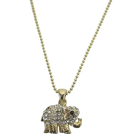Golden Elephant Pendant Embedded Cubic Zircon Necklace Gold Necklace