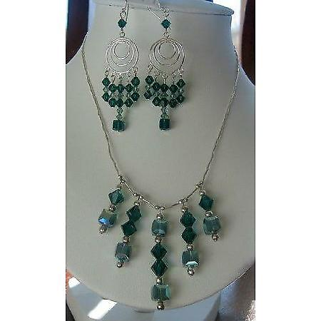 Swarovski Emerald Crystals Bridal Sterling Silver Necklace Set