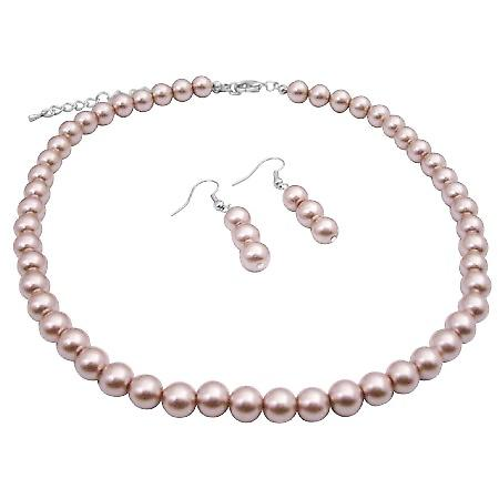 Wedding Champagne Pearls Necklace Beautiful Pearls Bridesmaid Jewelry
