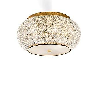 Ideal Lux - Pasha Gold Finish Six Light Flush Fitting With Crystals IDL100807