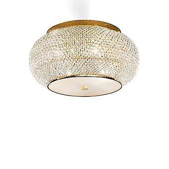 Idealne Lux - wykończenie złoto Pasha sześć z IDL100807 kryształy światła Flush
