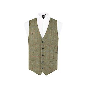 Harris Tweed Mens Green Herringbone Tweed Waistcoat Regular Fit 5 Button