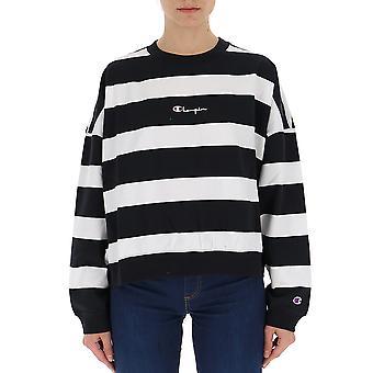 Champion White/black Cotton Sweater
