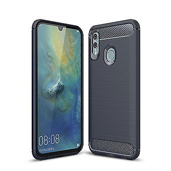 Huawei P smart 2019 TPU case carbone fibre optique brossé bleu boîtier protecteur