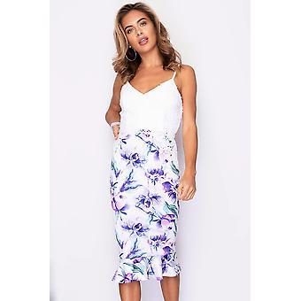 Lace Top Frill Hem Floral Print Dress