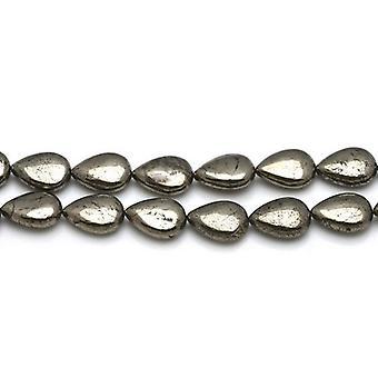 鎖 30 + 淡いゴールド黄鉄鉱 8 x 12 mm フラット ドロップ ビーズ CB26118 1