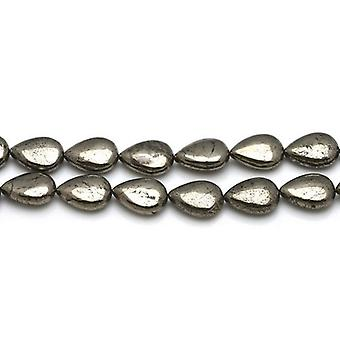 Strand 30 + blek guld pyrit 8 x 12mm platt droppe pärlor CB26118-1
