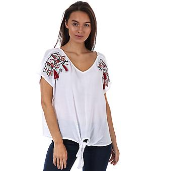 Womens Brave Soul Lena Embroidered Oversized T-Shirt In Cream