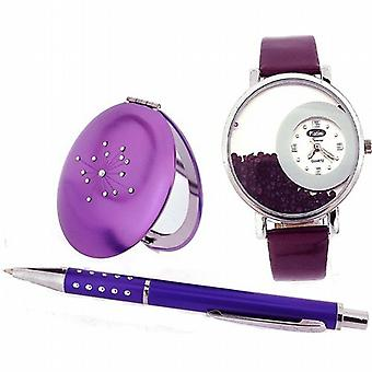 Platini Princes Ladies Various Purple Shades Watch Pen & Compact Mirror Gift Set