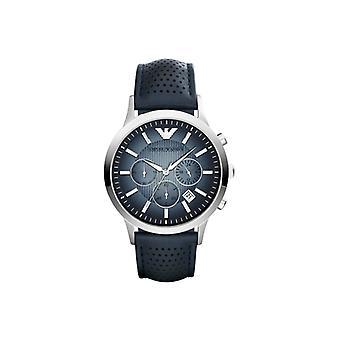 Emporio Armani Ar2473 klassisk blå dial læder rem Herre ur