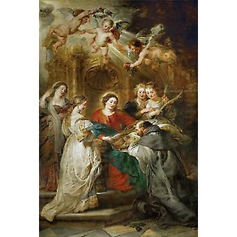 Aparicion of Maria to San IIdefonso,Peter Paul Rubens,60x40cm