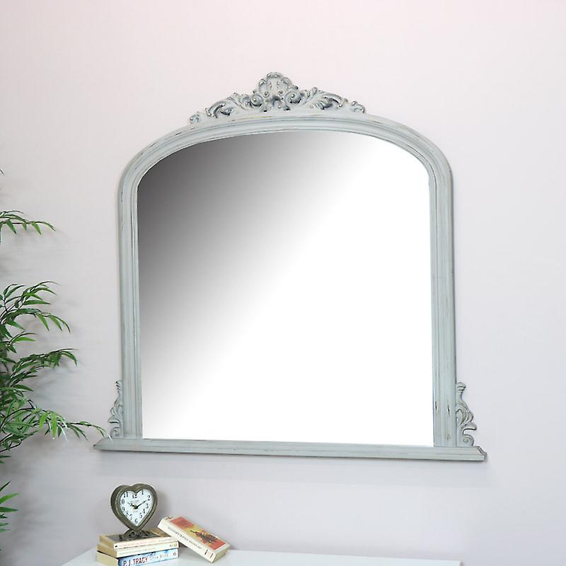Large Antique gris Over hommetel Wall Mirror  - 94cm x 104cm