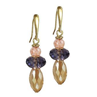 Evige samling Fiesta ametyst og guld krystal Murano glas Drop gennemboret øreringe