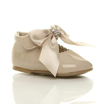 Ajvani Girls infants childrens ribbon bow scalloped bridesmaid party mary jane shoes