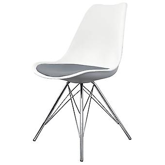 Fusion Living Eiffel Inspired White And Dark Grey Dining Chair With Chrome Metal Legs