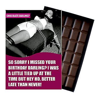 Funny försenat födelsedagspresent för män eller kvinnor boxed choklad gratulationskort present CDL126
