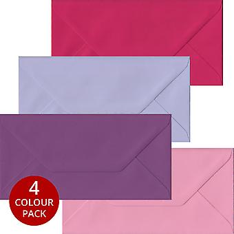 Pink Purple Pack 100 DL Gummed Envelopes -Four Pink/Purple Colours