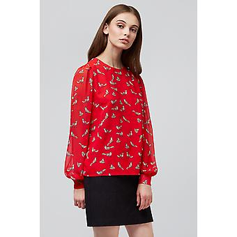 Louche Ece Fox Print Blouse Red