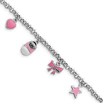 925 Sterling Argento polacco Aragosta Chiusura Rosa smaltato Baby Charm Bracelet - 5.5 Pollici - Aragosta Artiglio