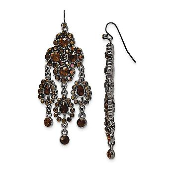 Shepherd hook Black Plating Black-plated Brown Glass Chandelier Earrings