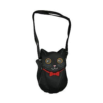 Black Cat in Red Bow Pretty Kitty Crossbody Purse Small