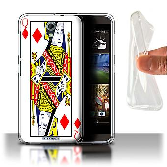 STUFF4 Gel/TPU Custodia/Cover per HTC Desire 820 Mini/regina di diamanti/Playing Cards