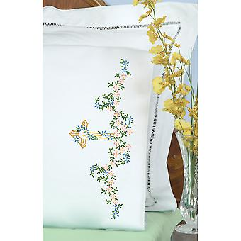 Stamped Pillowcases With White Perle Edge 2 Pkg Cross 1600 960