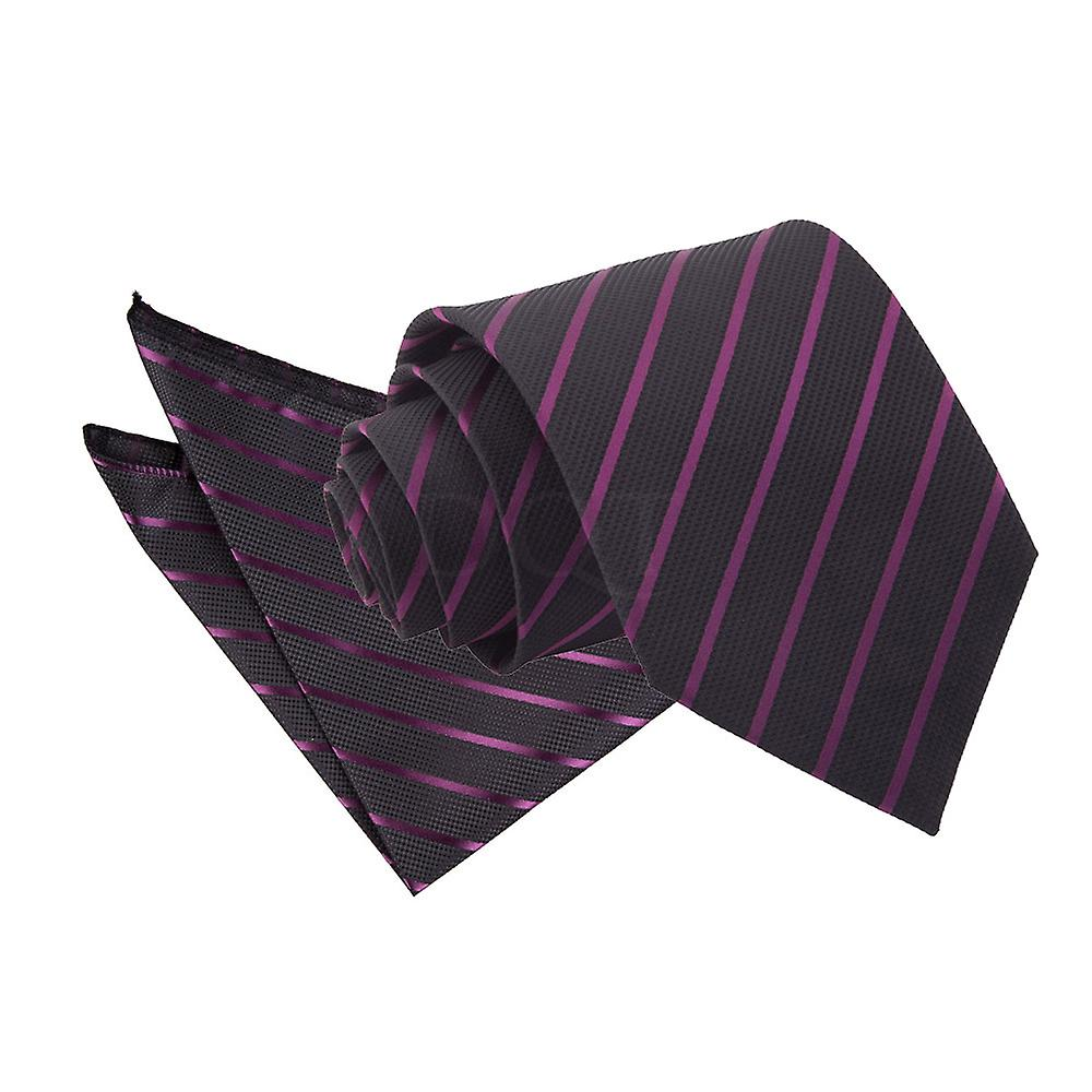 Single Stripe Black & Purple Tie 2 pc. Set