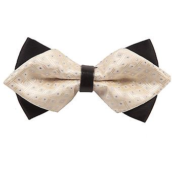 Crisscrossed with Dots Ivory Diamond Tip Bow Tie