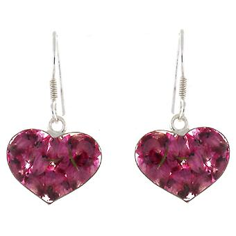 Shrieking Violet Sterling Silver Pink Heather Flower Glass Heart Earrings
