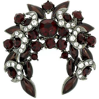 Broschen Store große Ruby roten Swarovski-Kristall Crescent Corsage Brosche