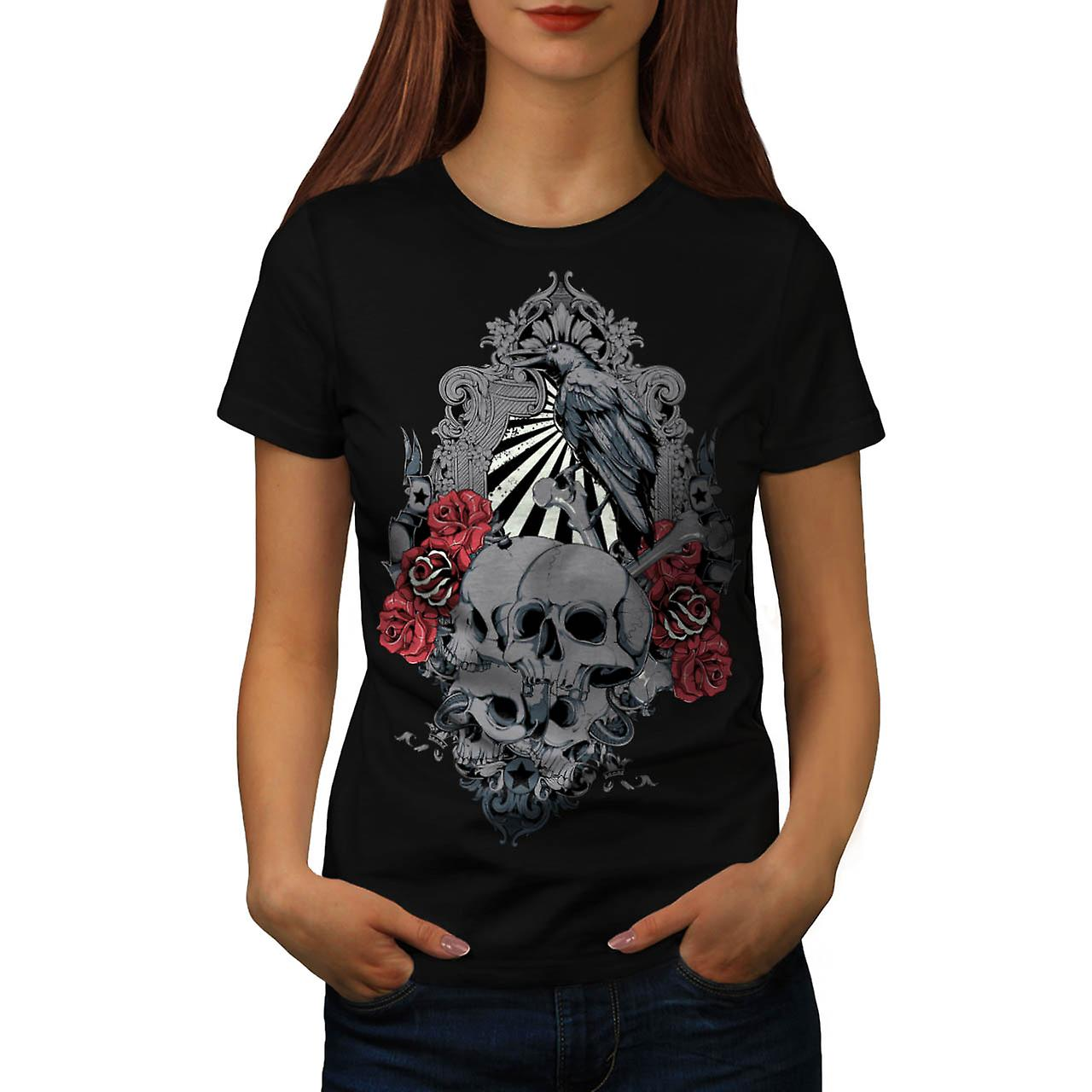 Death Skull Cemetery Burial Land Women Black T-shirt | Wellcoda