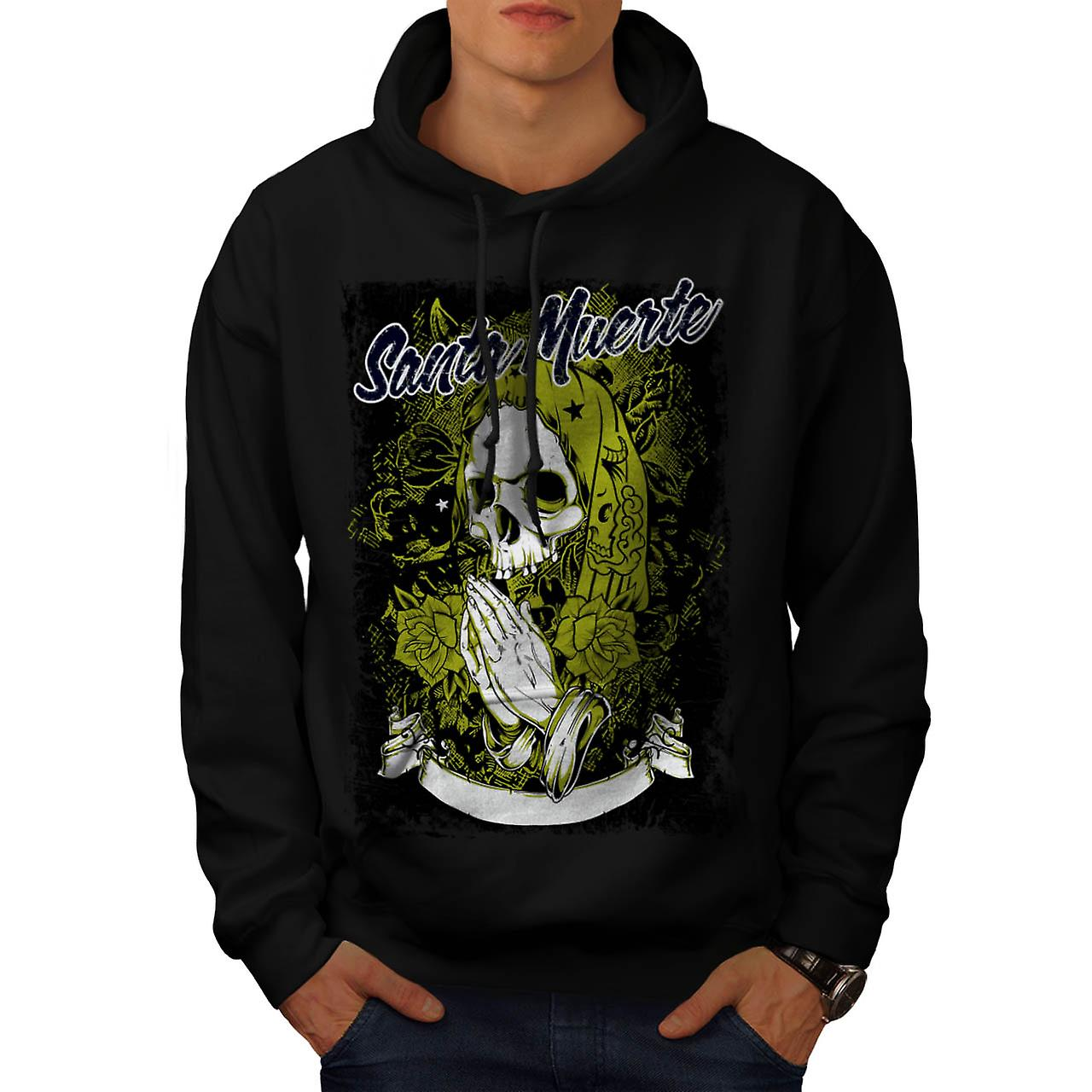 Santa Muerte Skull Death Rage Men Black Hoodie | Wellcoda