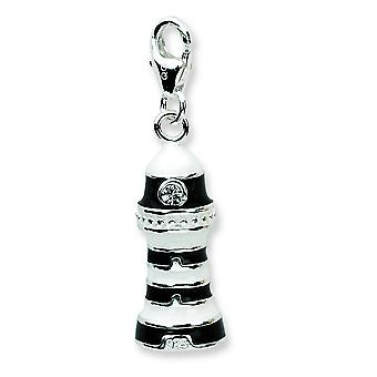 Charm in argento Sterling 3-d smaltato Lighthousew Lobster Clasp - 4,9 grammi - misure 33x9mm