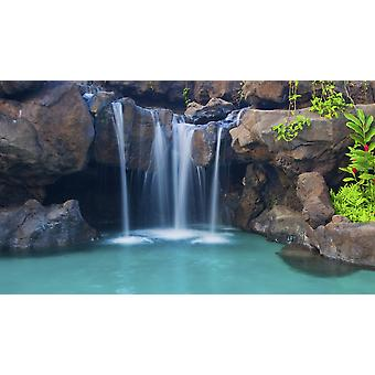 Waterfall into Resort Pool PosterPrint