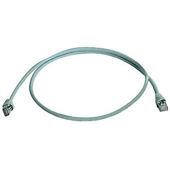 RJ49 Networks Cable CAT 6A S/FTP 1 m Grey UL-approved, Flame-retardant, incl. detent Telegärtner