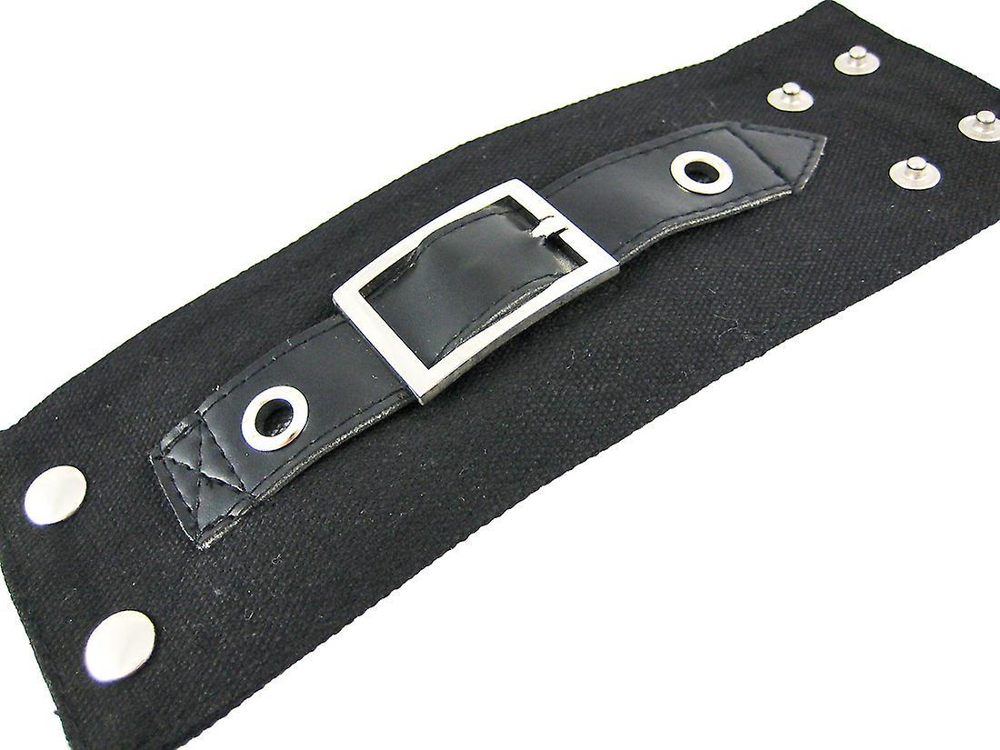 Black Canvas Wristband W/ Vinyl Strap Chrome Buckle