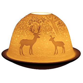 Light-Glow Forest Deer Lithophane Dome Tealight Candle Holder