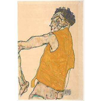 Egon Schiele - Self-Portrait in Yellow Vest 1914 Poster Print Giclee