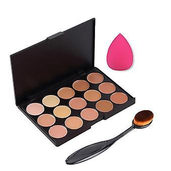 Boolavard 3st/set Professional 15 kleuren Concealer palet make-up crème Primer + ovaal mengen borstel + make-up vlekkeloze