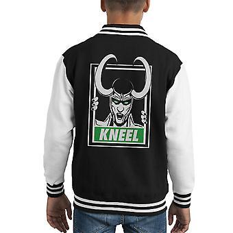 Vengadores Loki obedecer a arrodillarse Varsity Jacket para niños