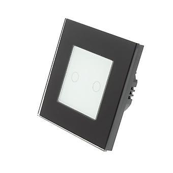 Я LumoS черный стекло рамка 2 банды 1 способ Touch диммер свет переключатель белой вставкой