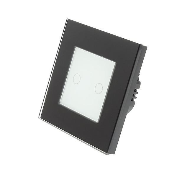 I LumoS Black Glass Frame 2 Gang 1 Way Touch Dimmer LED Light Switch White Insert