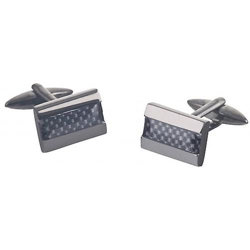 David Van Hagen Carbon Fibre Rectangle Cufflinks - Gunmetal/Grey