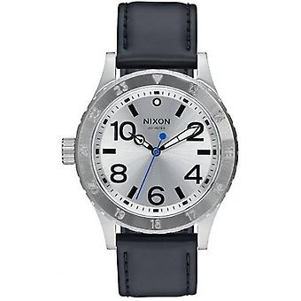 Nixon The 38-20 Leather Watch - Silver/Black/Blue
