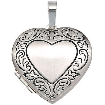 Locket heart 925 frosted blackened sterling silver pendant to open