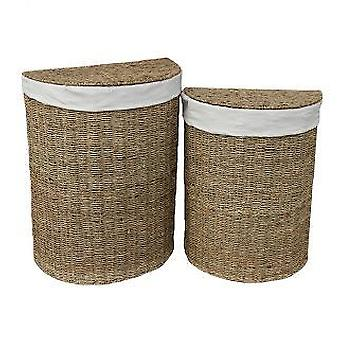 Set of 2 Seagrass Semi Circle Laundry Basket