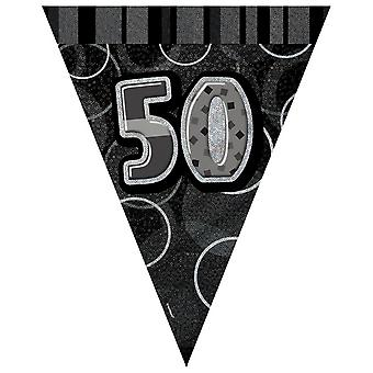 Unique Party Black/Silver 50 Glitz Pennant Bunting
