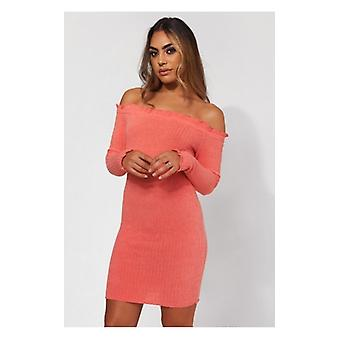 The Fashion Bible Coral Knitted Bardot Frill Mini Dress